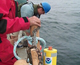 NOAA GLERL scientists deploy a thermistor chain for long-term temperature monitoring in southern Lake Michigan, 1999.