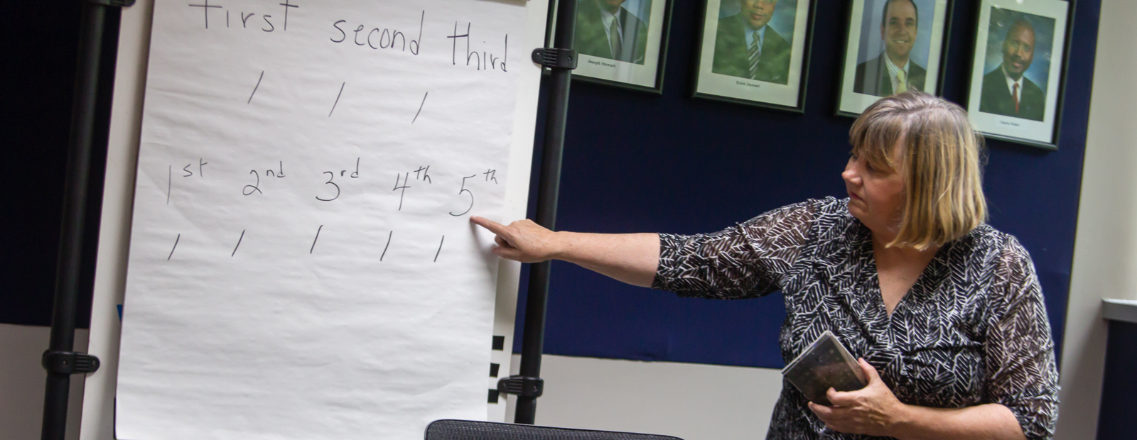 Instructor Betty Alia teaches the English as a Second Language class at Stewart Industries <span class='image-credits'>Susan Andress</span>