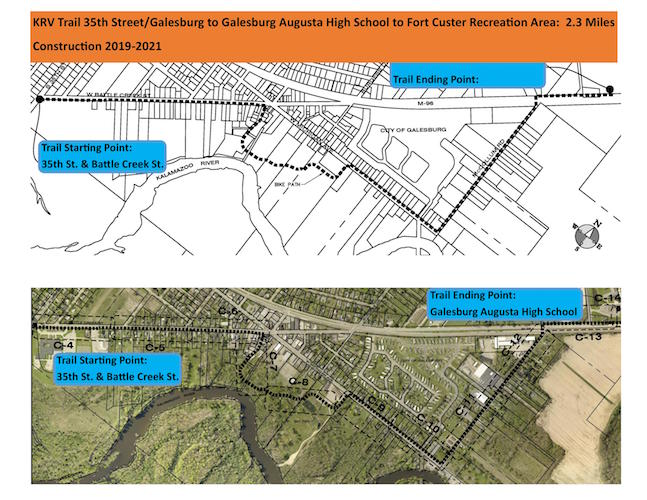 Planned route of the KRVT through Galesburg, expected to be complete spring of 2020. Courtesy of Kalamazoo County Parks.