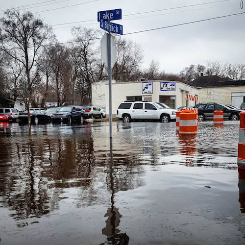 Water filled roadways during February's flood.