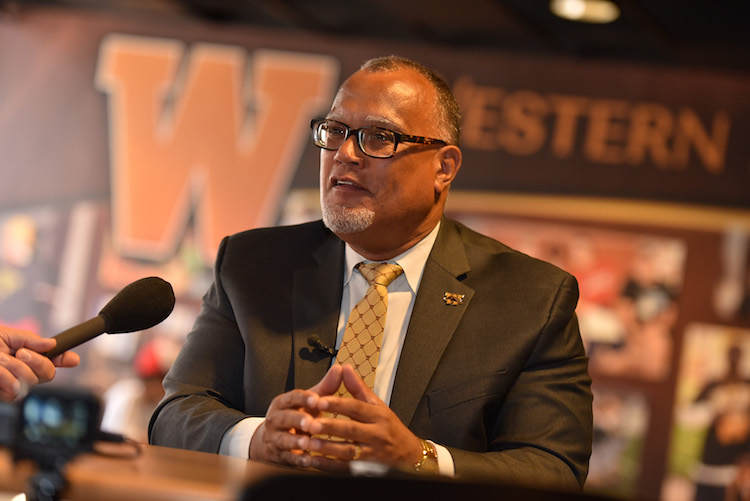 Dr. Edward B. Montgomery meets with the media on his first day at WMU. Photo by Mike Lanka