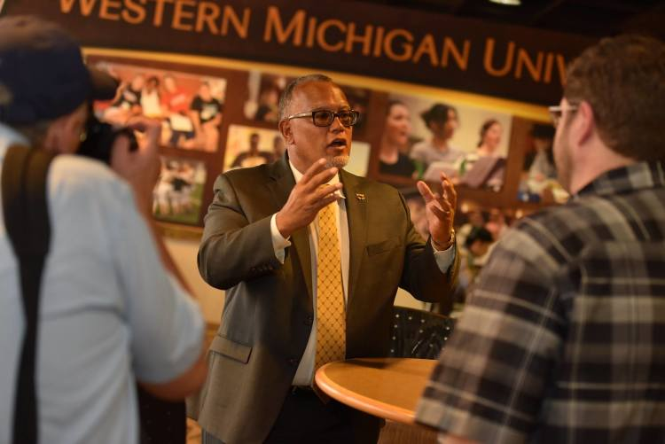 Dr. Edward Montgomery meets with students and the media in his first day on the job at WMU. Photo by Mike Lanka