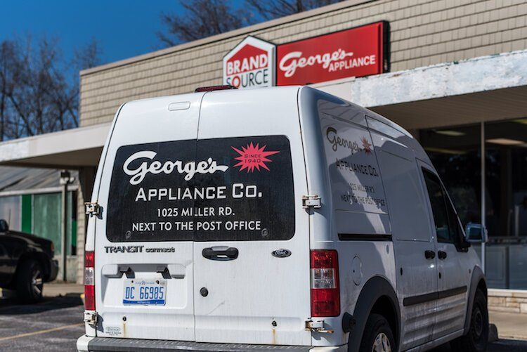 Outside George's Appliance Co. at 1025 Miller Road in Kalamazoo's Edison Neighborhood.