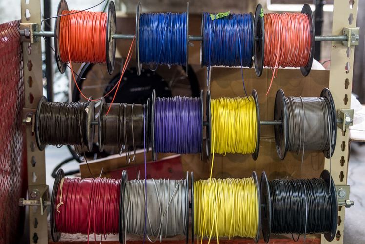 Colorful cables at Fido Motors.  Photo by Fran Dwight.