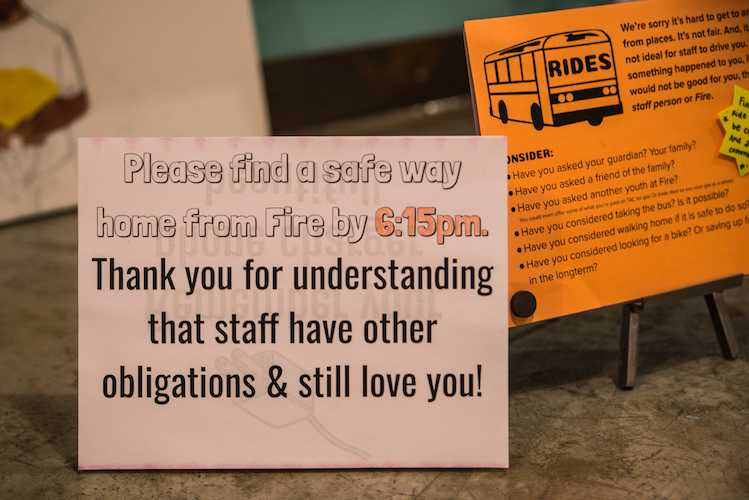 Messages on the counter at Fire. Photo by Fran Dwight