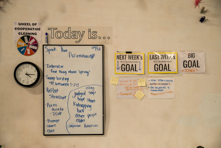 A wall for goal setting at Fire. Photo by Fran Dwight