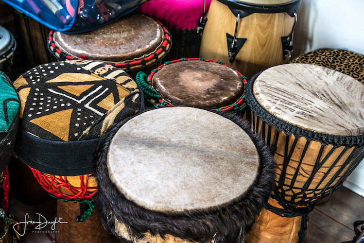 Drums used by Rootead in peformances and drumming activities.