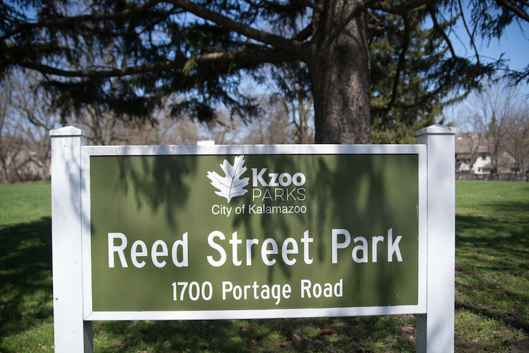 A welcoming sign at Reed Street Park. Photo by Fran Dwight