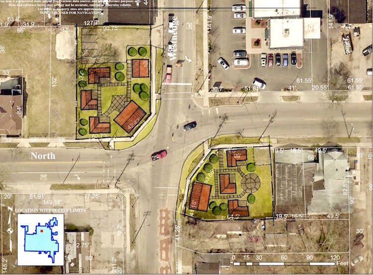 In this bird's-eye-view rendering of the intersection of North Westnedge Avenue and North Street, the Tiny Houses of HOPE Project can be seen on the southeast corner of the intersection, towards the bottom right, of the image.
