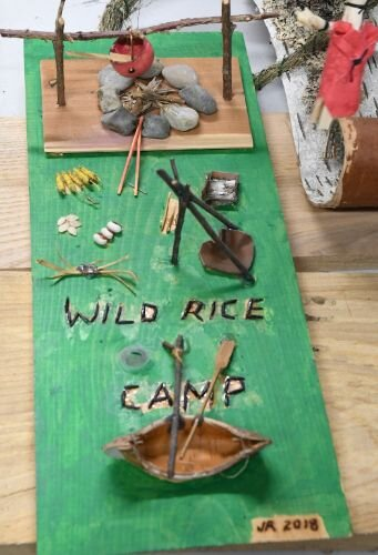 A model of a wild rice processing camp demonstrates examples of tribal food sovereignty, including traditional foods such as corn, beans and squash (referred to as the Three Sisters due to their companion growing method).