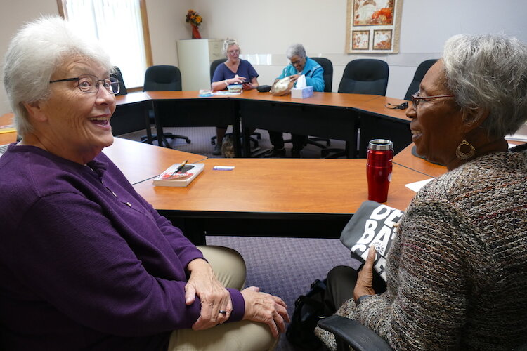Lynn Rich, left, and Dorothy McClendon are members of the Sacred Conversations Book Group.