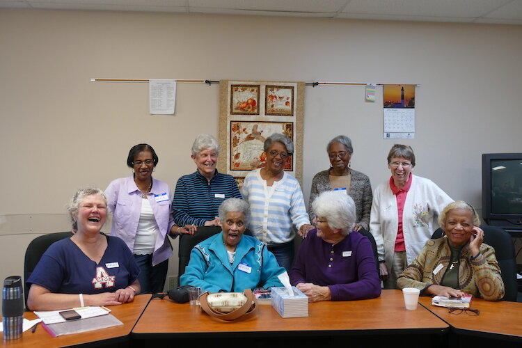 Front row, from left, Mary Bourgeois, Martha Brown, Lynn Rich, Sonja Lindsey           Back row, from left , Roxie Perry, Sandy Wehling, Thelma Vaughn, Dorothy McClendon, Debbie Miller.