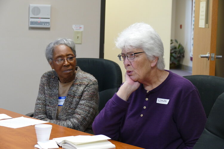 Dorothy McClendon and Lynn Rich of the Sacred Conversations Book Group.