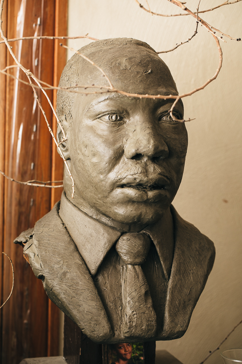 Many of James Palmore's works, including a bust of Martin Luther King Jr. at the Douglass Community Center, are shown in permanent collections around town.
