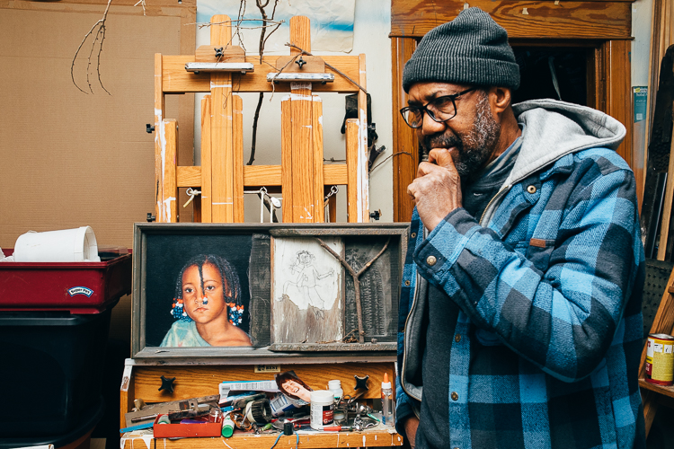 A man of many talents, artist James Palmore works from his studio to his childhood Eastside home and has since 1994.