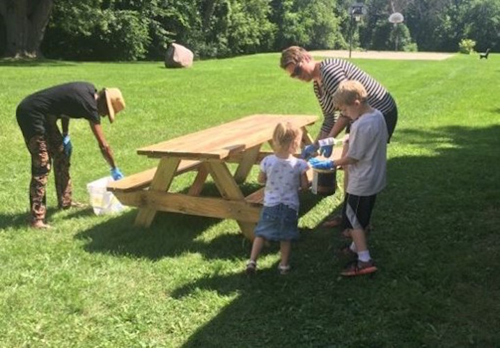 The picnic table construction at Rockwell Park brought out residents of all ages.
