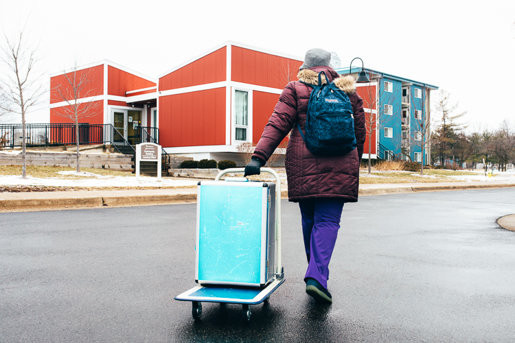 Most of the cleaning equipment you would see at a dentist's office fit in Tiffany Burns traveling hygienist suitcase.