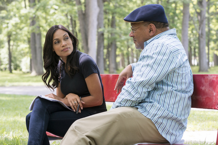 Rosario Dawson and Dr. Lawrence Reynolds of Mott's Children's Center in the E in the docu-series 'America Divided' Photo Courtesy EPIX