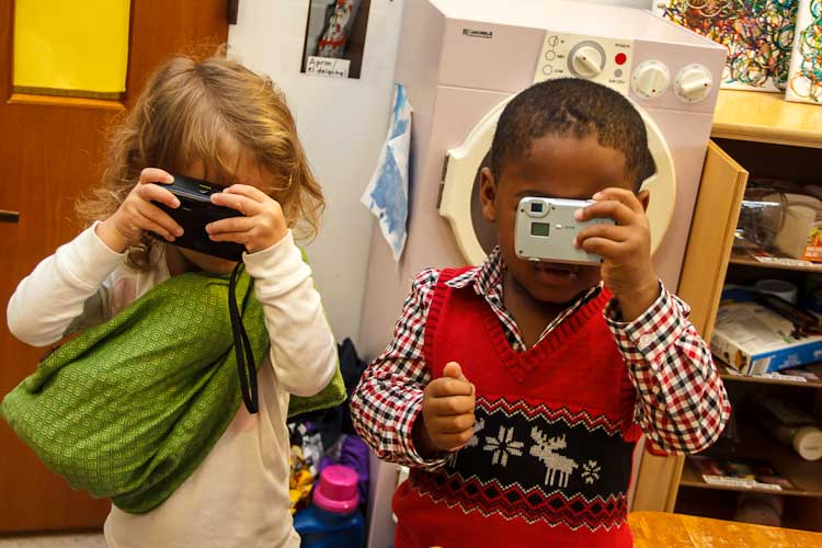 Budding photographers at Garden of Dreams     Photo by Susan Andress