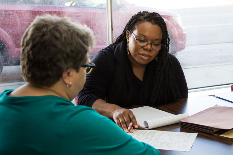 Alisa Parker, right, managing attorney at Legal services of South Central Michigan Photo by Susan Andress