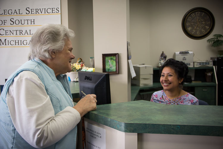 Client Phyllis Robinson, left, and Gabriela Vicente-Lemus of Legal Services of South Central Michigan. Photo by Susan Andress