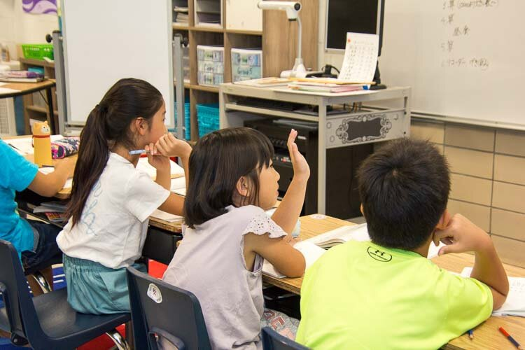 Students learn a Japanese curriculum.