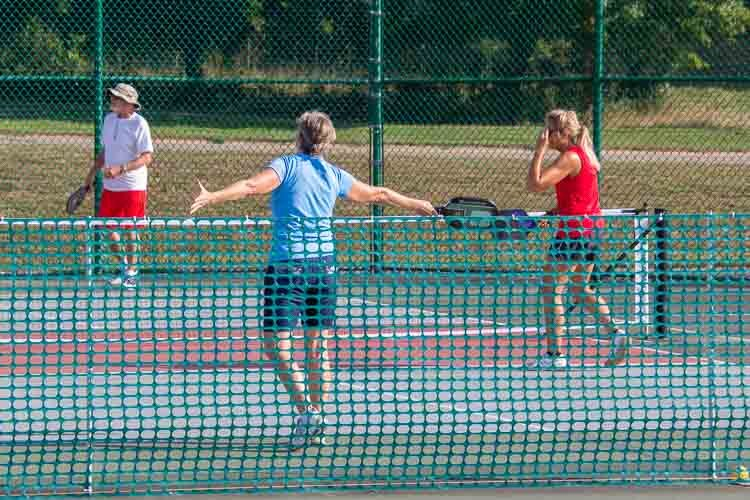 Battle Creek Pickleball Club members on the couts at KCC.