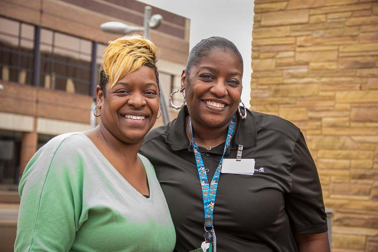 Taneka Thomas, Workforce Development Liaison with Yolanda White,  the WFD Participant of the year.