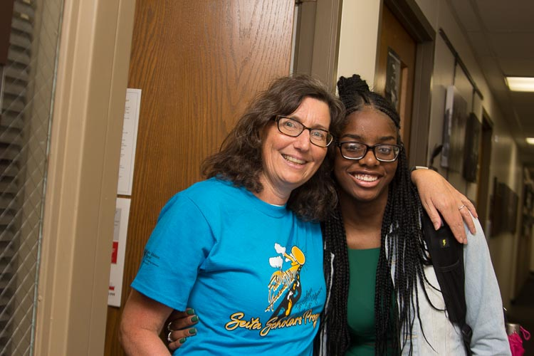 Yvonne Unrau, director Center for Fostering Success with Antwinae McNeil, Seita Scholar.