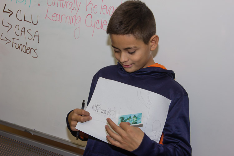 A student demonstrates what he is learning as part of a VOCES program.