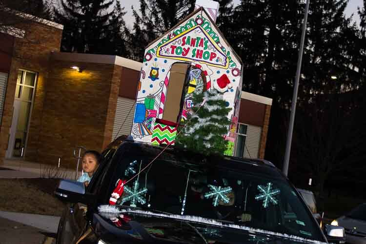 King-Westwood Elementary School families were being encouraged to decorate their vehicles with a winter or holiday theme.