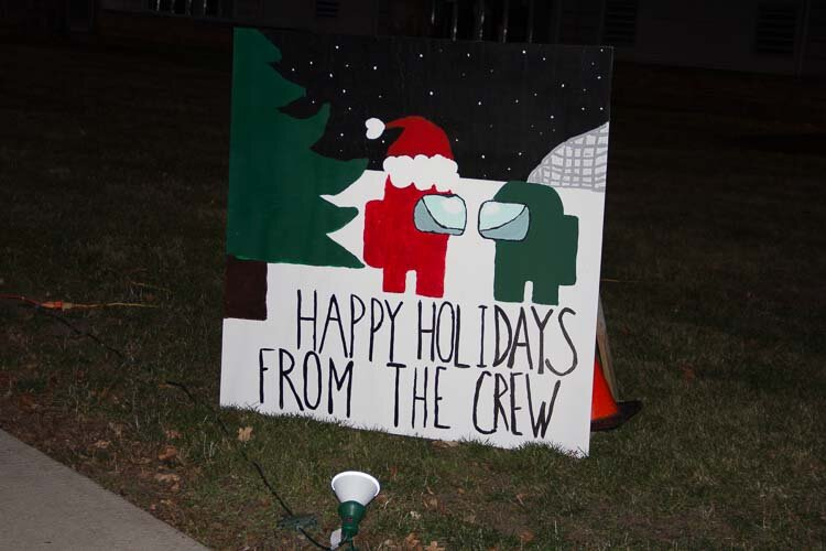 The staff created life-size holiday cards.