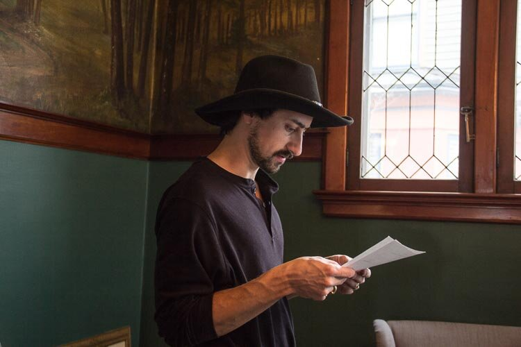 David Engerer gets advice from his father about how to restore historical homes. Here he reads from a historical document about the house.