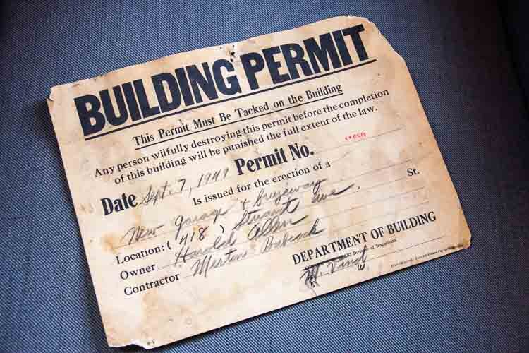 A building permit for their work in the Stuart Neighborhood.