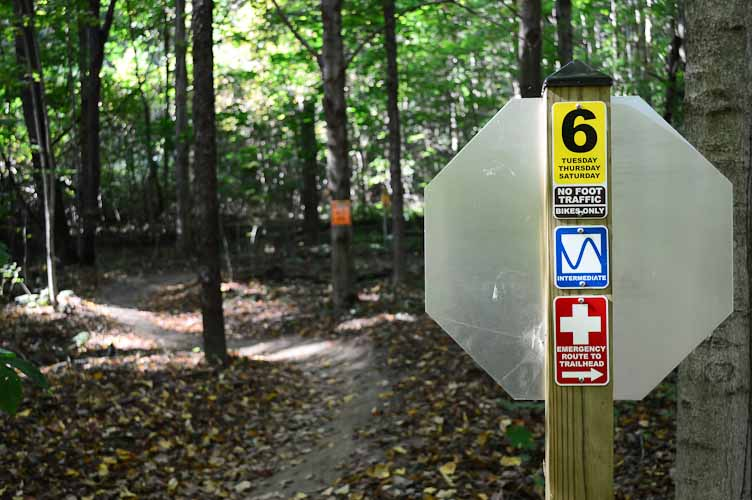 Maple Hill trail has sections for skill levels easy to difficult.