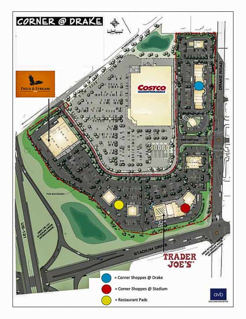 Construction plans for the Corner @ Drake retail center.