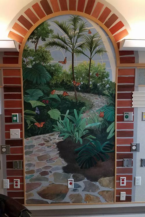 A mural in the hospital that welcomes chlldren donated by Crayons4Kids