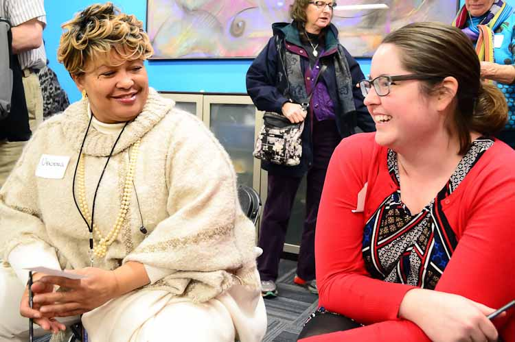 Vanessa Collins-Smith, left, and Marcy Dix at Kalamazoo's Day of Healing event. Photo by Mark Wedel