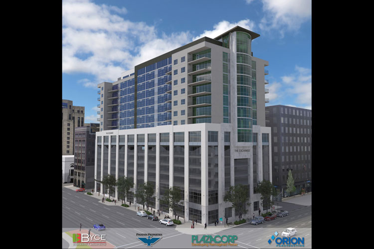 An architects rendering of the Exchange Building in downtown Kalamazoo.