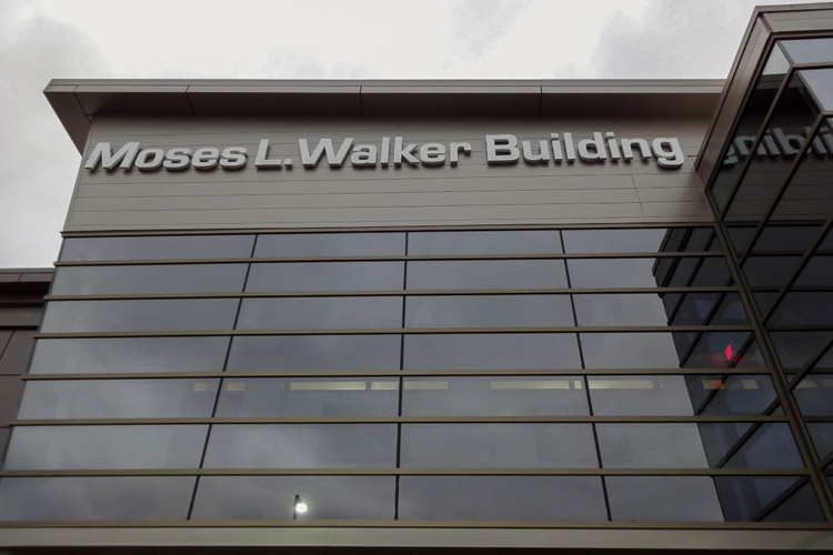 A view of the Moses L. Walker Building