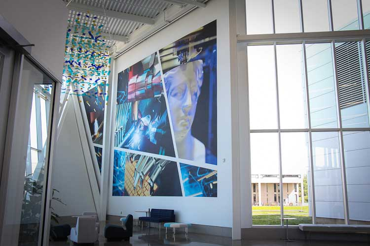 The artwork on display in the Hanson Technology Center