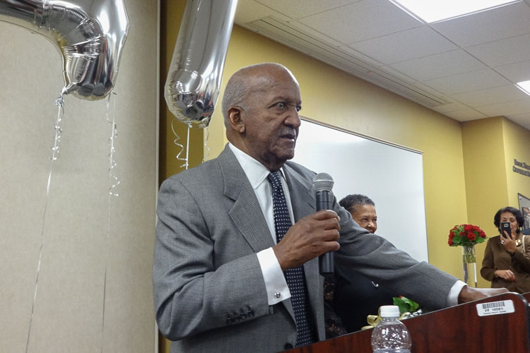Moses Walker speaks at reception