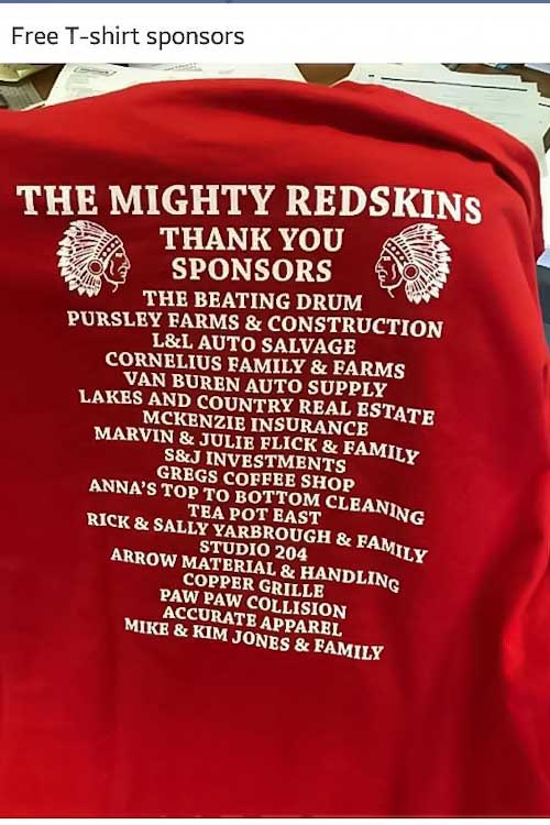 A red T-shirt worn by supporters of keeping the existing mascot. Courtesy of Protests for Native Rights in Michigan