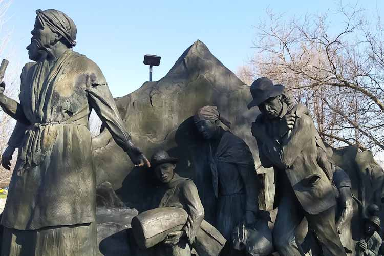 Detail of the Underground Railroad monument in Battle Creek.  Ed Dwight sculptor.