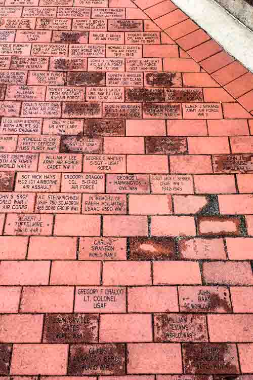 Some of the bricks at Rose Park Veterans Memorial.