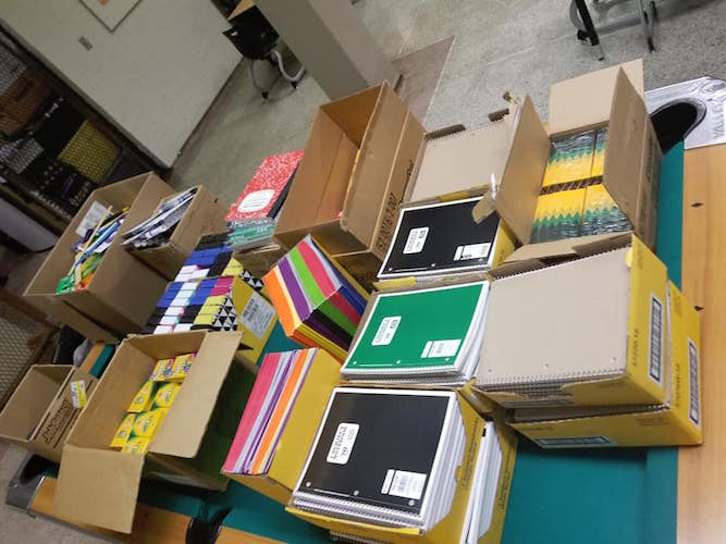 School supplies collected for donation