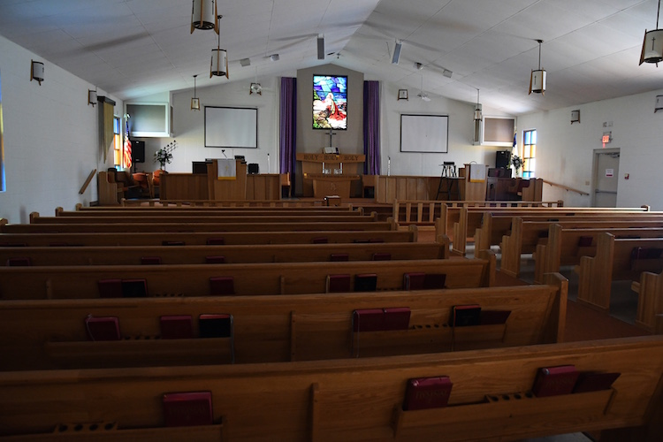 The sanctuary at the Trinity Neighborhood Center is used by two churches for worship on Sundays