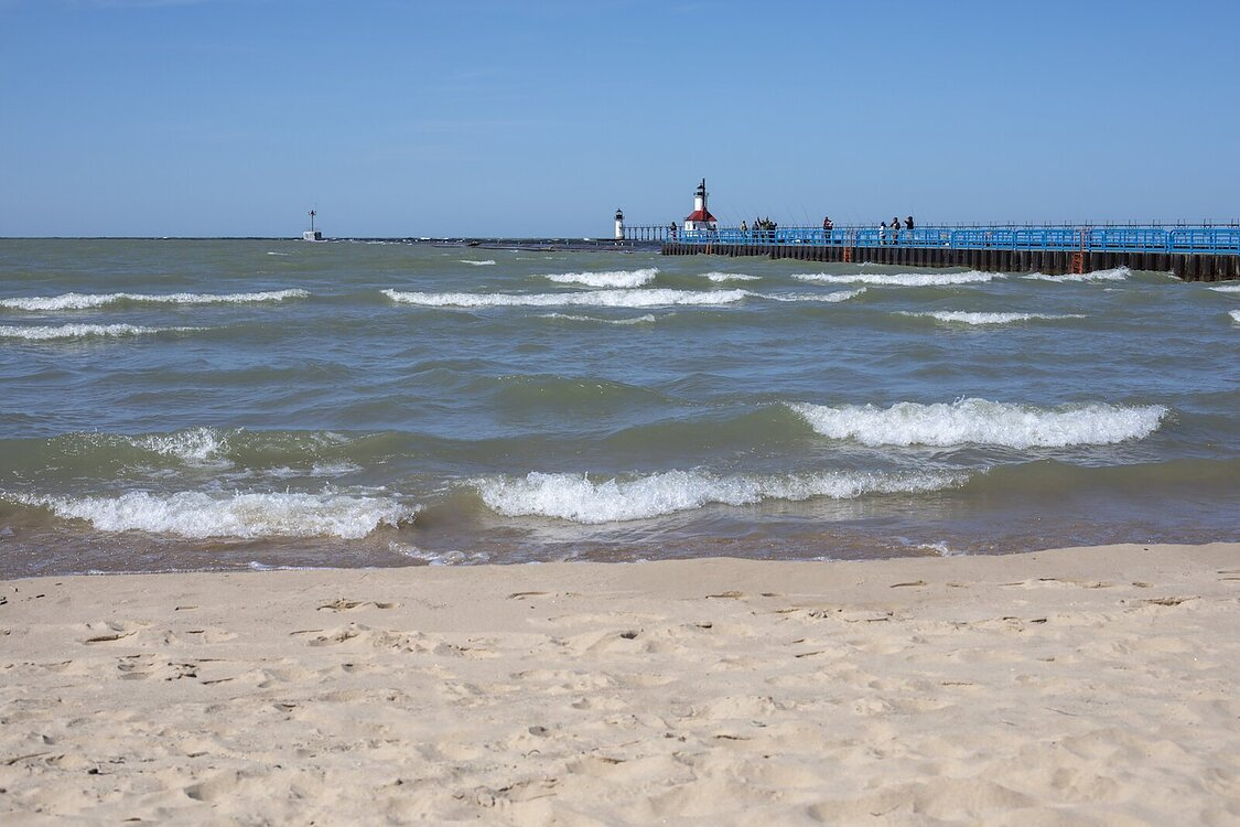 A view of the lighthouse at Silver Beach in St. Joseph.