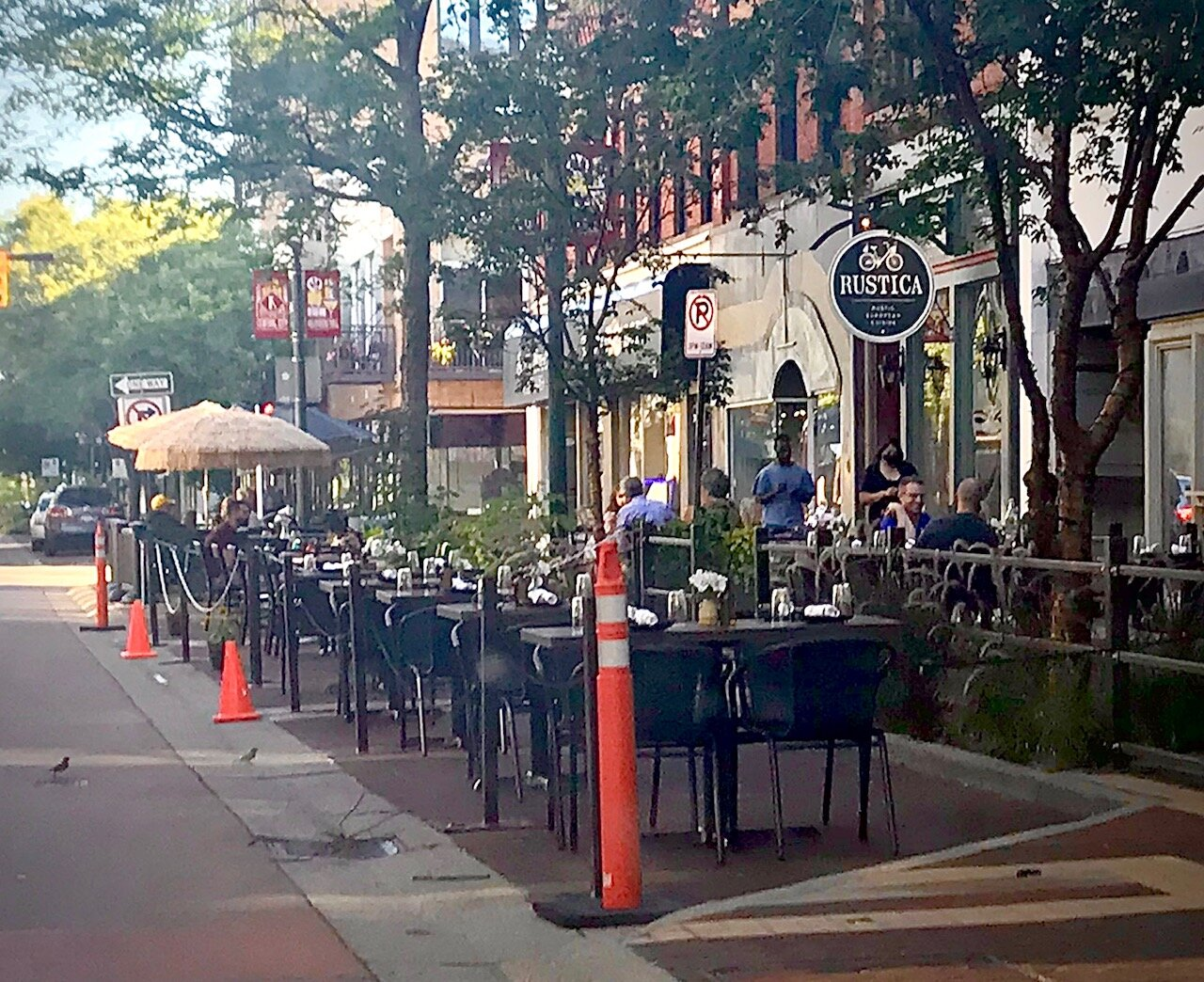 Shown here is the expanded seating area adjacent to the Rustica and Principal restaurants in the 200 block of the South Kalamazoo Mall.