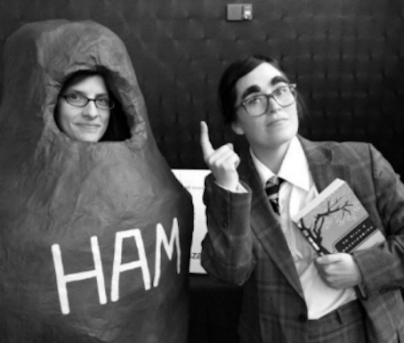 RAWK Cofounders Anne Hensley and Emily Kastner get goofy for reading and writing.